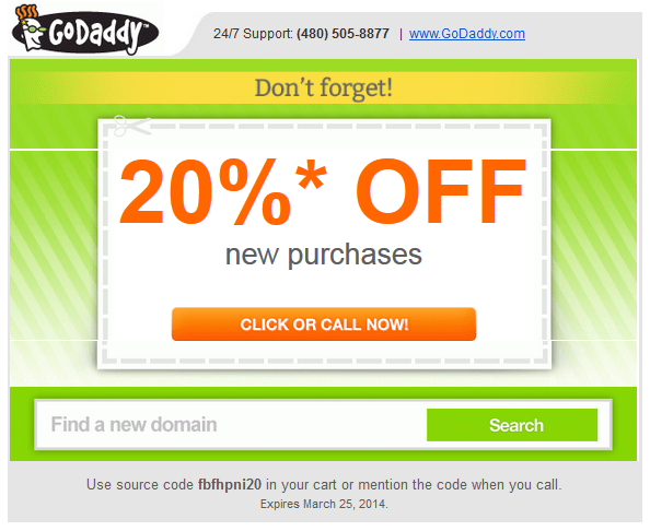 Godaddy coupon Maret 2014