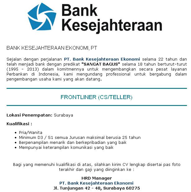 lowongan teller bank 2014